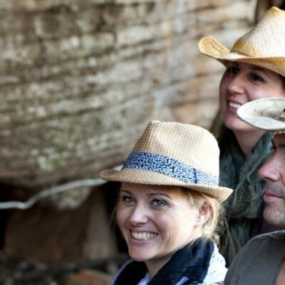 Visitors enjoying a tour of the aboriginal art in Arnhem Land