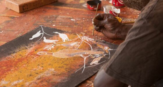 Close up of an Aboriginal person painting