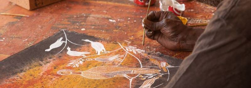close-up-of-an-aboriginal-painting-panoramic Mystical Arnhem Land Day Tour - Sightseeing | Departs Jabiru